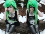 Scene girl with green and black side hair