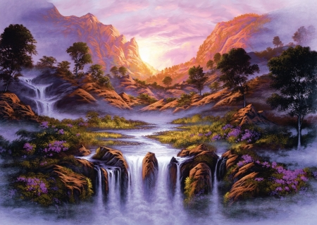 Waterfall Beauty - mountains, painting, river, sunset, artwork