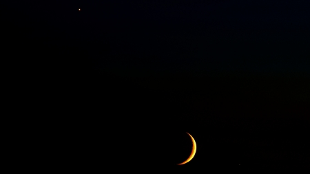 Evening Star and Moon - photo, beautiful, abstract, forces of nature, photography, moon, wide screen, nature, star