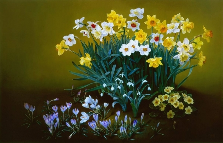 Flowers - painting, crocus, daffodils, artwork