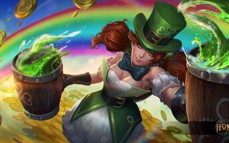 Drunken mistress - game, heroes of newerth, woman, shamrock, hat, fantasy, girl, green, day, drunken mistress, beer, st patrick