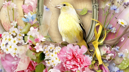 Sounds of Spring - ribbon, summer, flowers, yellow bird, spring, carnation