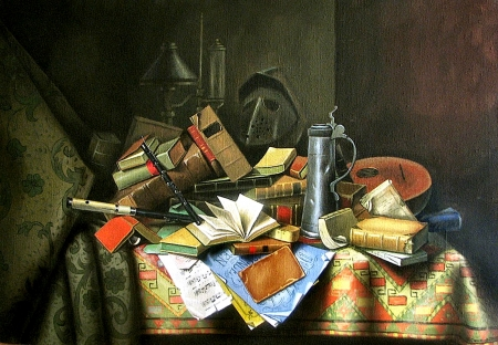 Still Life With Fife and Books F - art, books, mandolin, music, beautiful, artwork, still life, fife, stein, painting, wide screen