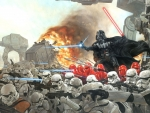 darth vader and stormtroopers in battle