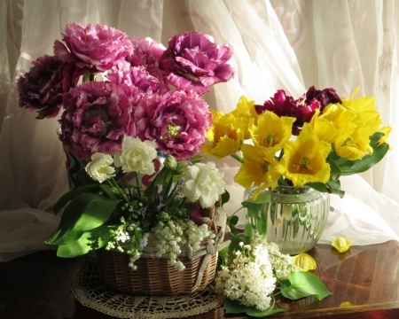Beautiful spring flowers - lilac, red, lilies of the valley, yellow, vase, beautiful, floral, still life, elegance, green, flowers, beauty, tulips, pink, colors, soft, spring, glass, basket, smell, nature, white, natural