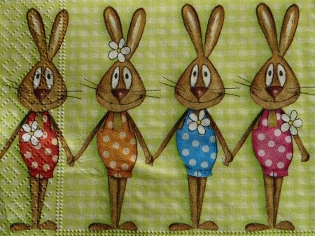 Easter Napkin - Easter, funny, cartoon, bunnies, napkin