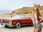 Cowgirl Shay Laren and 1976 Cadillac Eldarado