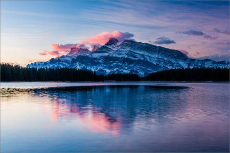 Mount Rundle,Canada - landscape, banff national park, sunrise, mountains, reflection, nature, lake
