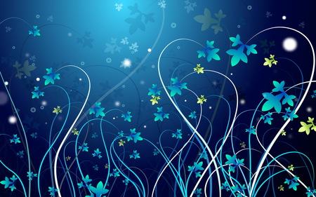pretty blue vines - vines, flower vines, blue, abstracts, designs, maybe, art, kierra