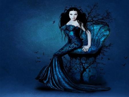 LADY IN BLUE - dress, female, lady, blue