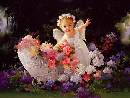 Spring Child - flowers, colorful, child, spring, basket, angel, flower, baby