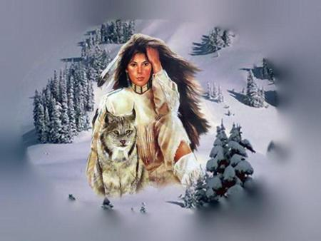 Native American Woman and Wolf - snow, woman, wolf, native american, feather, brush, indian