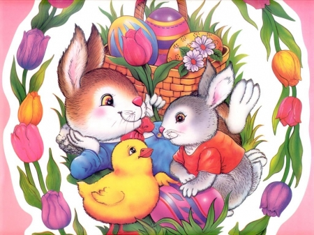 Easter Bunny - yellow, easter, chick, bunnies
