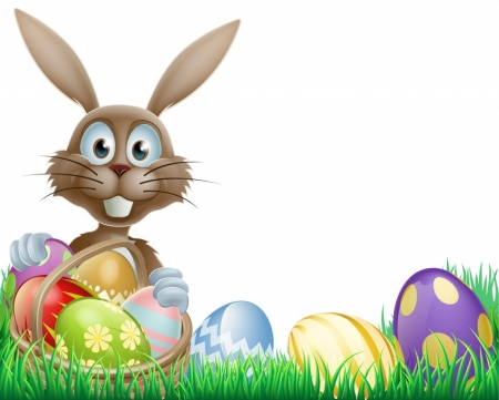 Easter Rabbit - holy, holiday, colored, eggs, bunny, easter