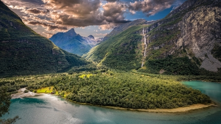 Valley Gorge - mountains, gorge, nature, clouds, rivers, valley