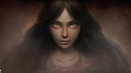 Alice - art, green eyes, game, lifo, fantasy, girl, dark, alice madness returns, face