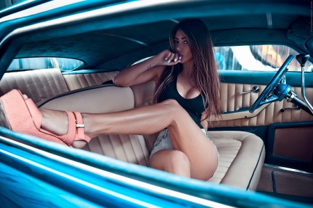 Sexy in car - brunette, legs, sexy, car