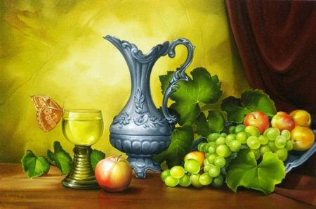 Still Life - grapes, fruits, apples, painting, can, artwork