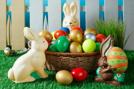 Easter Eggs and Bunnies - fence, candy, grass, chocolates, still life, Easter, bird, basket, eggs, rabbits, Spring, bunnies