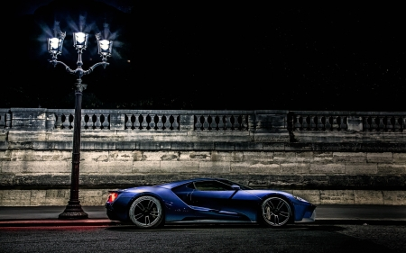 Ford GT Concept under a Street Lamp - cars, gt, concept, ford