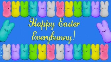Happy Easter, Everybunny! (2) - ho1iday, marshmellows, marshmallow bunnies, Happy Easter, bunnys, marshmellow, Easter, marshmallows, bunnies