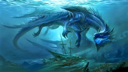 Sunken Treasure - fantasy, ocean, magic, treasure, dragon
