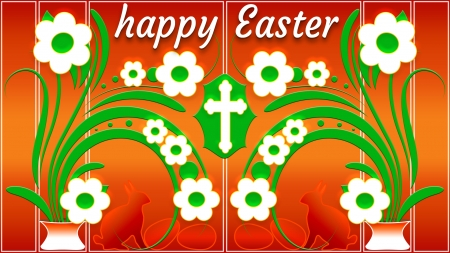 Happy Easter - holiday, Easter, vases, eggs, rabbits, flowers, Spring, bunnies, cross