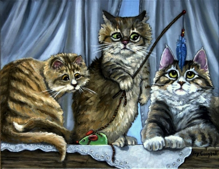 Auction - cute, painting, funny, cats, artwork, fishing