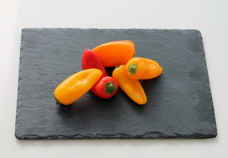 Colorful Pepper - red, colorful, Pepper, spicy, plate, yellow