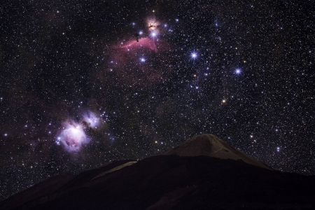 Orion's Belt and Sword over Teide's Peak - mountain, stars, cool, space, fun