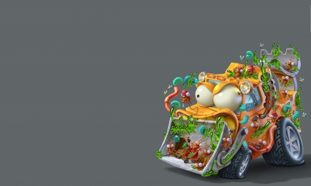Car from Monsterland - worm, monsterland, yellow, oscar ramos, fantasy, green, car, grey, funny, pink