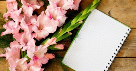 Background with gladiolus - pretty, lovely, background, notebook, beautiful, spring, gladiolus, flowers, letter