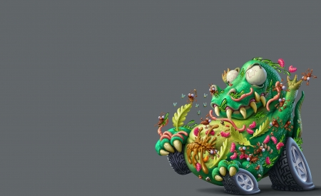 Car from Monsterland - worm, monsterland, yellow, oscar ramos, fantasy, green, car, grey, funny, eyes