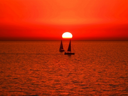 Sailing Sunset - ocean, sailing, nature, sunset, clouds, sea