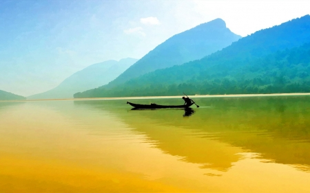 Lake - nature, Lak, mount, fishing