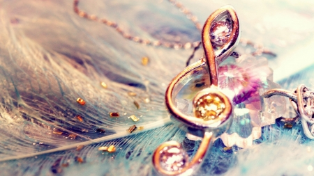 Music note - note, stone, jewelery, feather