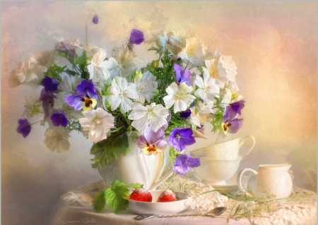Beautiful  flowers - different, vase, beautiful, soft, spring, mixed, delicate, tea, still life, flowers, drink, nature, white, cups