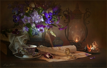 Old memories in the silence of the night - brown, background, old, sweetheart, still life, memory, person, love, pansies, flowers, light, other, night, candle, silence, colors, abstract, memories, missing, coffee, letters, dark, cup, pictures
