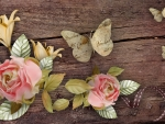 Roses Butterflies on Wood