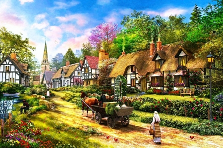Peasant Village Life - cottages, cart, trees, horse, sky, woman, clouds, artwork, painting, flowers, path