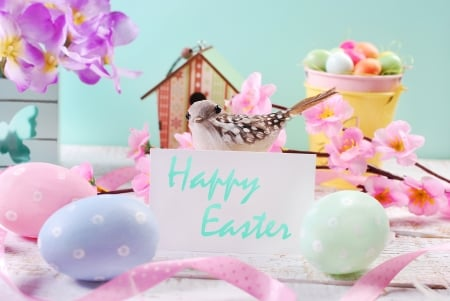 Easter - spring time, colorful, easter eggs, holiday, colors, easter, spring, still life, flowers, happy easter