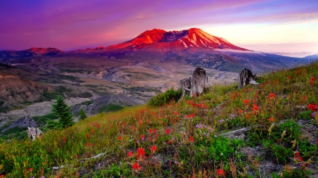 View Of Sunset Mountain Mountains Nature Background Wallpapers