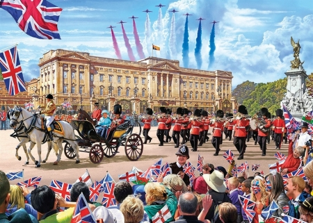 Trooping of The Colour - flypast, queen, palace, carriage, elizabeth, jets, flags, people, royalty, union jack, colour, buckingham