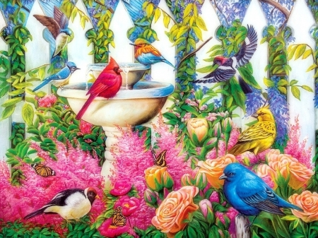 Fountain Gathering - fountains, colors, love four seasons, birds, butterflies, spring, paintings, flowers, butterfly designs, animals