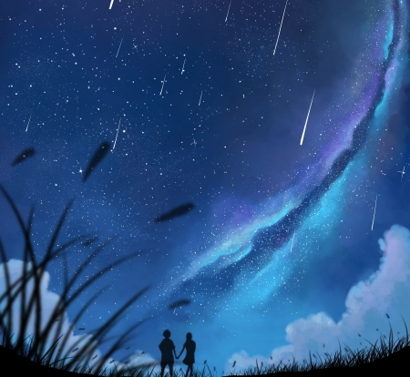 Starry night - stars, luminos, comet, manga, dias mardianto, starry night, sky, donsaid, anime, couple, blue
