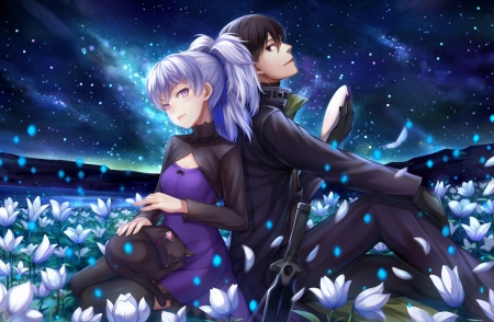 Beautigul night - luminos, choukoukou no diaosi, man, cat, darker than black, sky, yin, hei, boy, girl, flower, couple, mao, blue, night