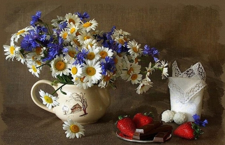 Still life - flowers, chamomile, still lide, white, blue, strawberr