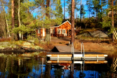 Cottage near lake - rest, forest, calmness, cottage, holiday, cabin, lake, pond, tranquil, dock, serenity, summer, fishing