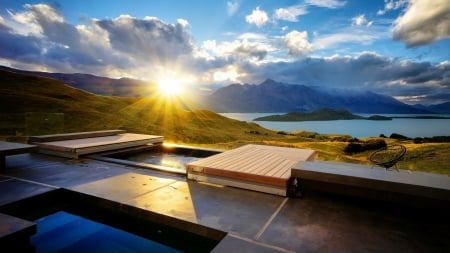 hot tub at stunning sunrise - hills, moutains, sunrise, clouds, lake, hot tub, terrace