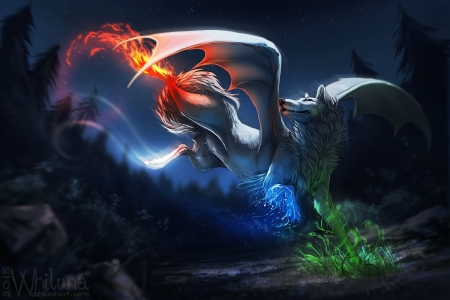 The Four Elements In A Wolf Fantasy Abstract Background